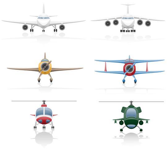 stel pictogrammen vliegtuig en helikopter vectorillustratie vector
