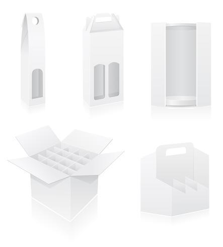 verpakkingsdoos voor fles vastgestelde pictogrammen vectorillustratie vector