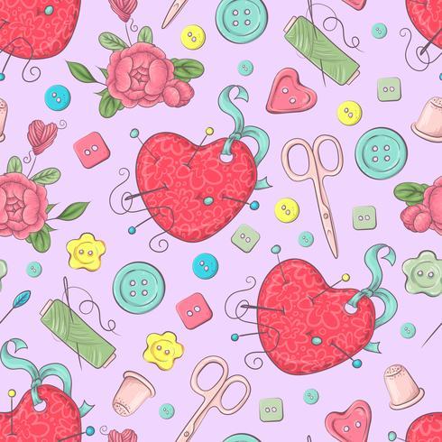 Naadloos patroon van ledenpop naaiende toebehoren. Handtekening. Vector illustratie