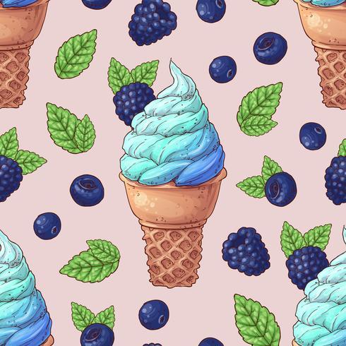 Naadloze patroon-ijs wilde bessen. Vector illustratie