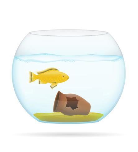 vis in een transparante aquarium vectorillustratie vector