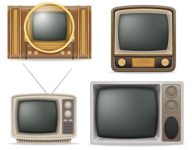 TV oude retro vintage set iconen voorraad vectorillustratie vector