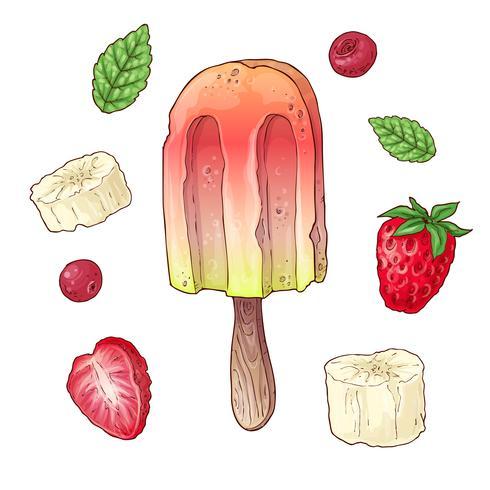 Stel ijsframbozen cherry banaan. Handtekening. Vector illustratie