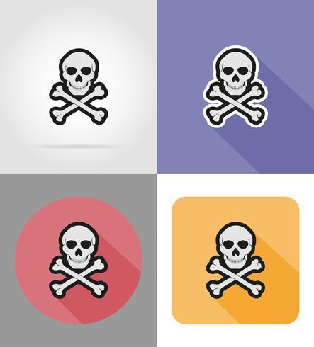 schedel en gekruiste beenderen plat pictogrammen vector illustratie