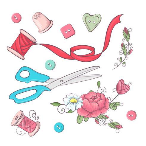 Een reeks naai-accessoires. Handtekening. Vector illustratie