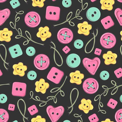 Naadloze patroon met de hand gemaakte gebreide bloemen en elementen en toebehoren voor het haken en het breien vector