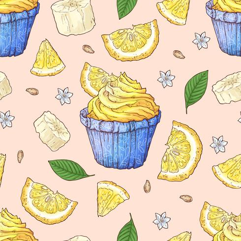 Fruit cupcake naadloze patroon. Handwerk. Vector illustratie