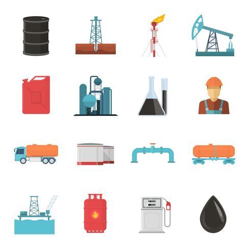 Petroleumindustrie Icon Set vector