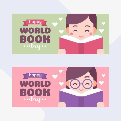 Schattige kinderen die een boek lezen. Jongen en meisje. Werelddagboek Cartoon vectorillustratie vector