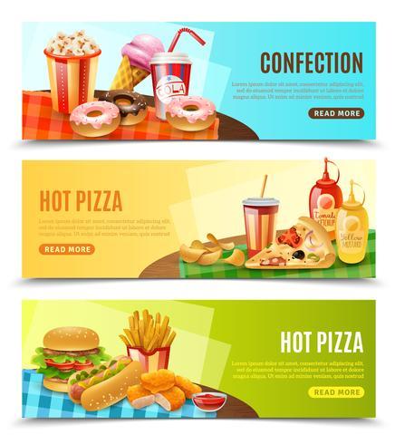 Fast Food horizontale banners instellen vector