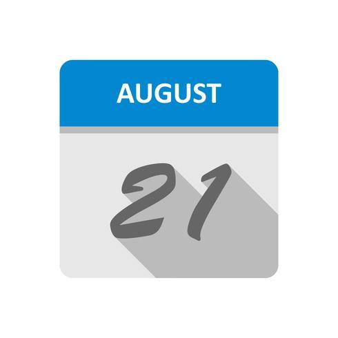 21 augustus Datum op een dagkalender vector