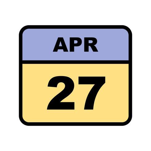 27 april Datum op een eendaagse kalender vector