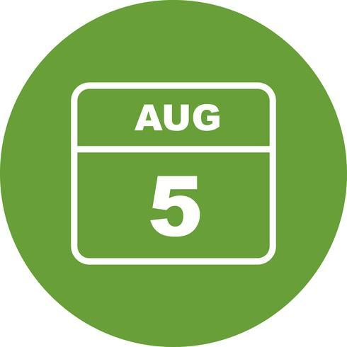 5 augustus Datum op een dagkalender vector