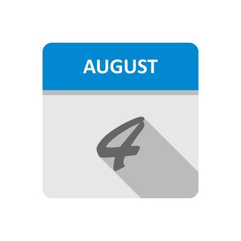 4 augustus Datum op een dagkalender vector