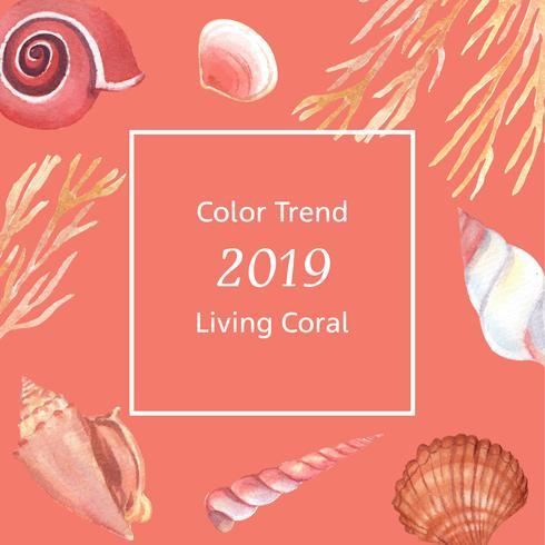 Kleur Coral 2019 trendy, Sea shell mariene leven zomer reizen het strand, aquarelle geïsoleerde vectorillustratie vector