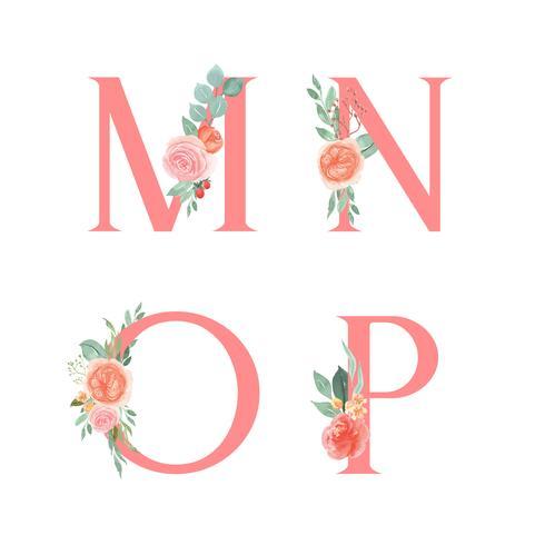 Roze alfabet florals set collectie, perzik en oranje pioen bloemen boeketten vintage, ontwerp voor bruiloft uitnodiging, vieren huwelijk, Bedankt kaart decoratie vectorillustratie. vector