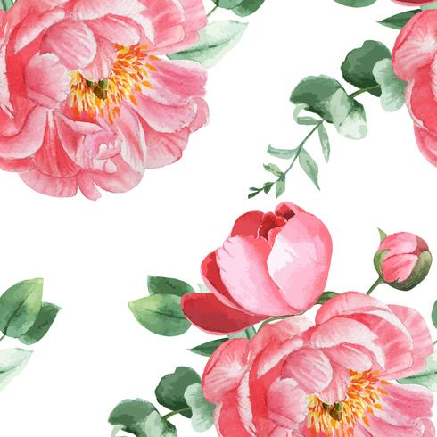 Peony bloemen watercolo Patroon naadloze bloemen botanische aquarel stijl vintage textiel, aquarelle bloesem ontwerp decor uitnodiging kaart vectorillustratie. vector