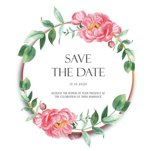 Roze die de bloemenbloemen van Pioenkronen met tekst, bloemenalorelle op witte achtergrond worden geïsoleerd. Ontwerp decor voor kaarthuwelijk, uitnodigingsaffiche, banner. vector