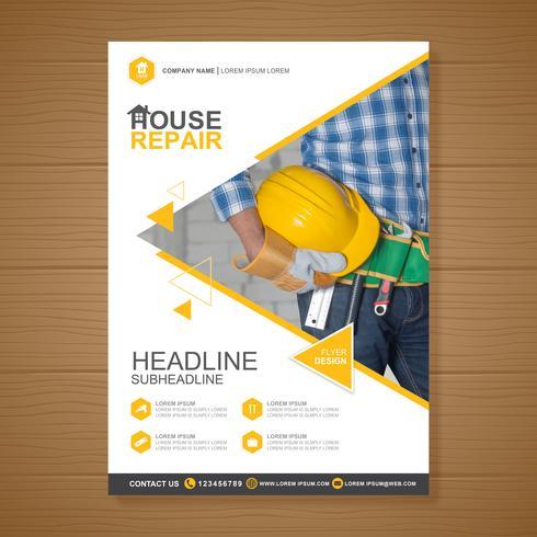 Bouwhulpmiddelen dekking a4 sjabloon en vlakke pictogrammen voor een rapport en een brochureontwerp, een vlieger, een banner, foldersdecoratie voor druk en presentatie vectorillustratie vector