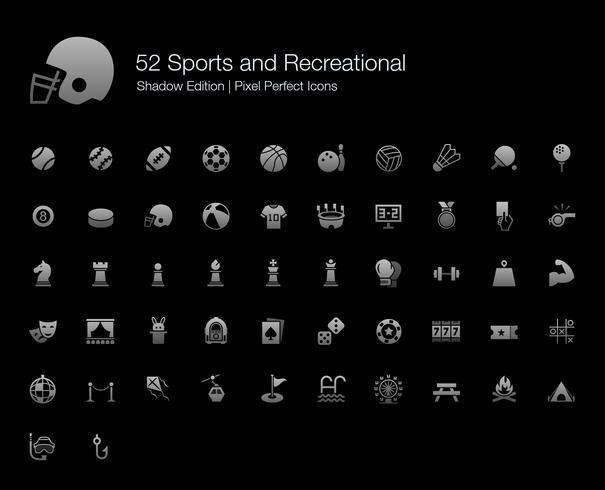Sport en recreatieve Pixel Perfect Icons Shadow Edition. vector