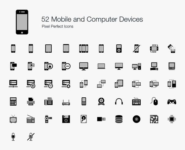 52 Mobiele en computertoestellen Pixel Perfect Icons. vector