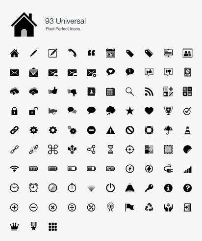 93 universele pixel perfecte pictogrammen. vector