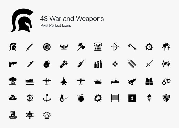 43 Oorlog en wapens Pixel perfecte pictogrammen. vector