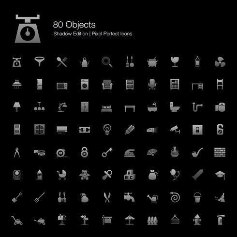 Objecten Pixel Perfect Icons Shadow Edition. vector