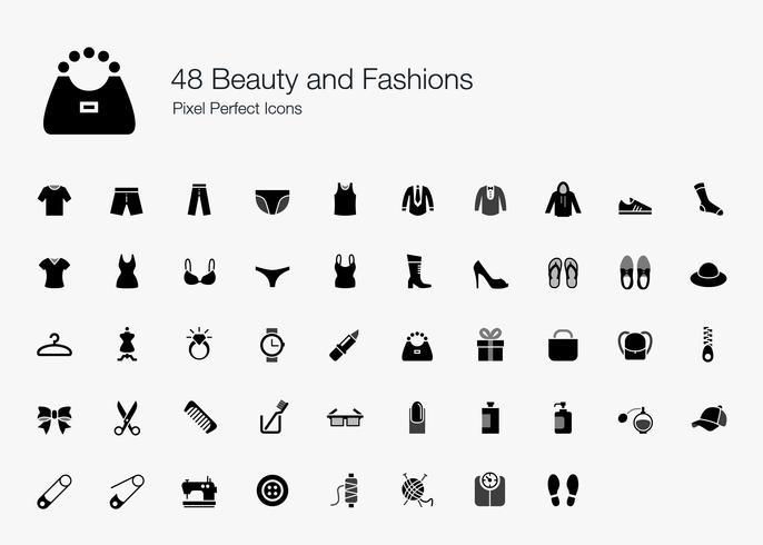 48 Schoonheid en mode Pixel Perfecte pictogrammen. vector