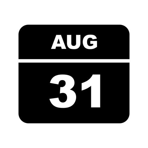 31 augustus Datum op een dagkalender vector
