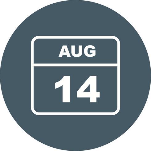 14 augustus Datum op een eendaagse kalender vector