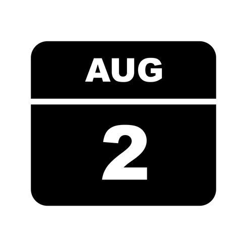 2 augustus Datum op een eendaagse kalender vector