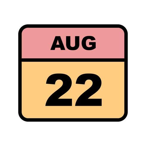 22 augustus datum op een eendaagse kalender vector