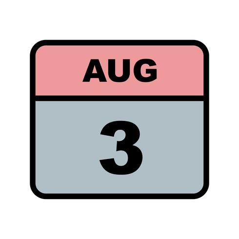 3 augustus Datum op een dagkalender vector