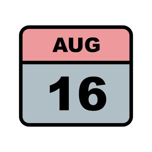 16 augustus Datum op een eendaagse kalender vector
