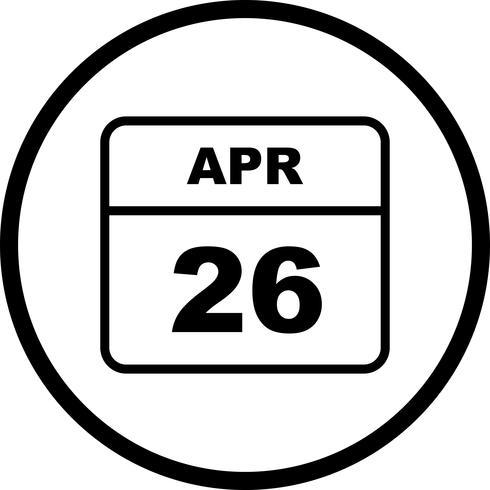 26 april Datum op een eendaagse kalender vector