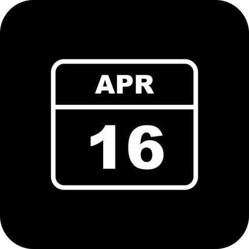 16 april Datum op een eendaagse kalender vector