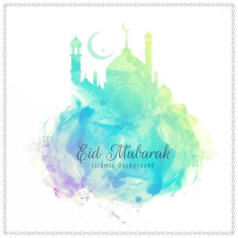 Abstracte religieuze Eid Mubarak aquarel achtergrond vector