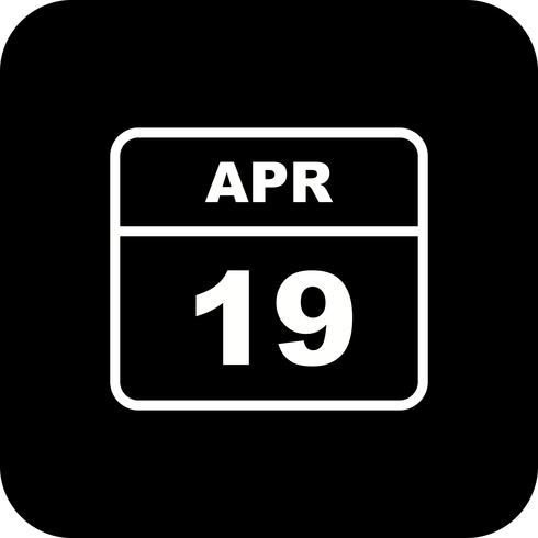 19 april Datum op een eendaagse kalender vector
