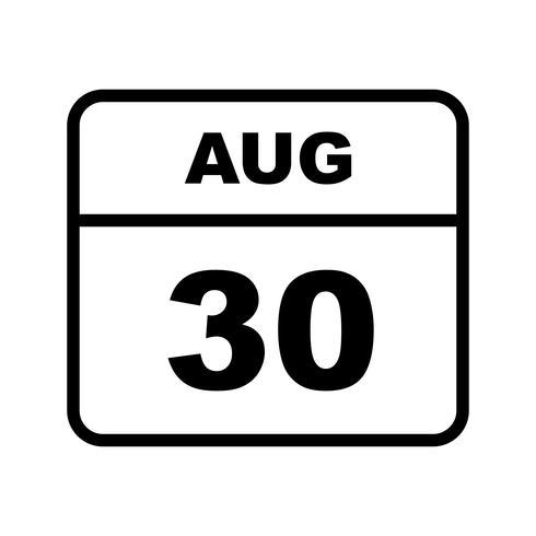 30 augustus Datum op een eendaagse kalender vector