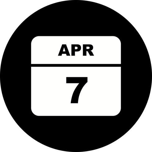 7 april Datum op een eendaagse kalender vector