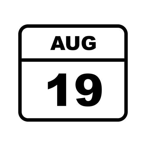 19 augustus Datum op een eendaagse kalender vector