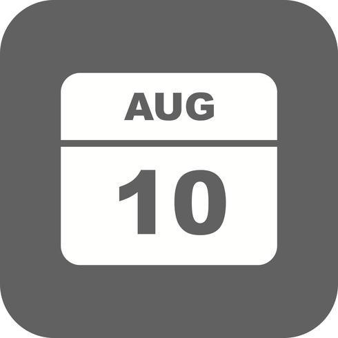 10 augustus Datum op een eendaagse kalender vector