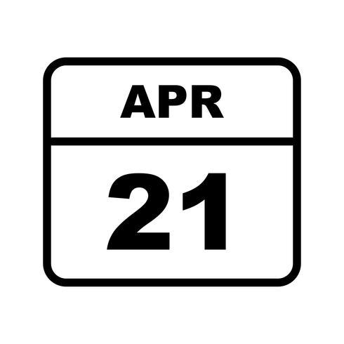 21 april Datum op een eendaagse kalender vector