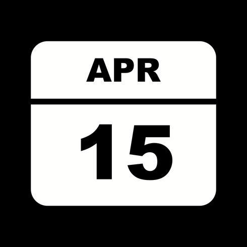 15 april Datum op een eendaagse kalender vector