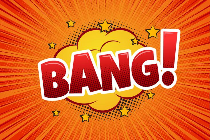 Bang! Komische tekstballon, cartoon. - Vector