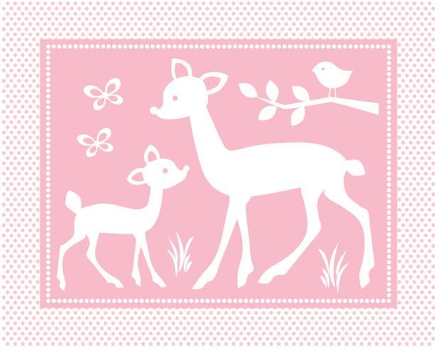 schattige baby herten scène met vogels en vlinders op roze polka dot achtergrond vector