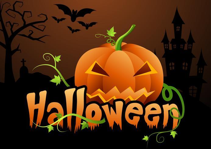 Halloween-pompoenen en donker kasteel op achtergrond, Gelukkige Halloween-de illustratie van het berichtontwerp. vector