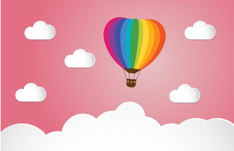 Origami maakte kleurrijke hete luchtballon en wolk op roze achtergrond. kunststijl. vector