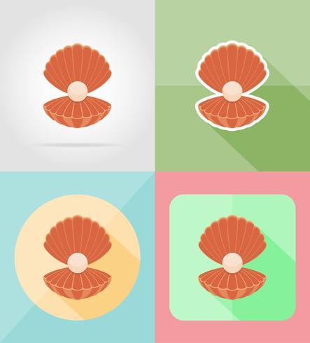 schelp met parel plat pictogrammen vector illustratie